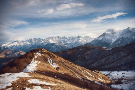 The road in the mountains of Ingushetia