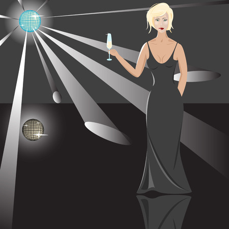 Blonde in black long gown with goblet in hand Vector