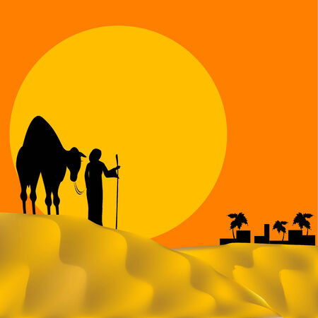 persons with camel in desert on background of the sundown Stock Vector - 6628992