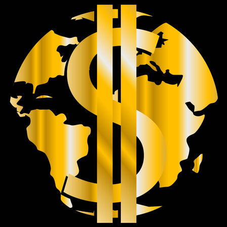 golden dollar on background of the gilded globe Stock Vector - 6624659