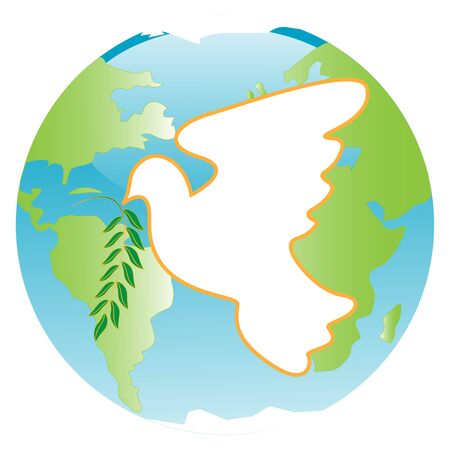mainland: White dove with branch of the laurel on blue planet Illustration