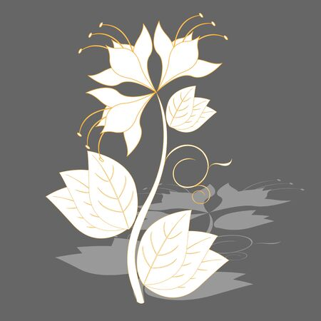flowerbed: magic white flower with shade on gray background Illustration