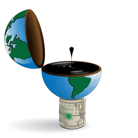 benzine: abstract drawing dollar and globe with oil Illustration
