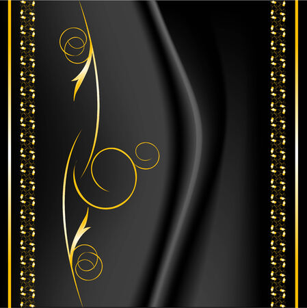 black silk: texture golden pattern with border on black silk Illustration