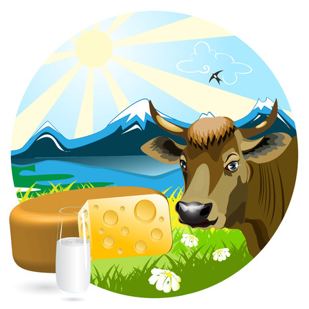 Cow, cheese and glass on background of the mountain landscape Stock Vector - 6720469