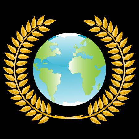 mainland: Globe in golden wreath on black background Illustration