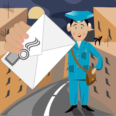 postbode: Postman in form with letter in city