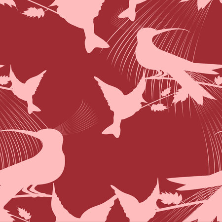 birds of paradise: Seamless texture paradise birds on red background