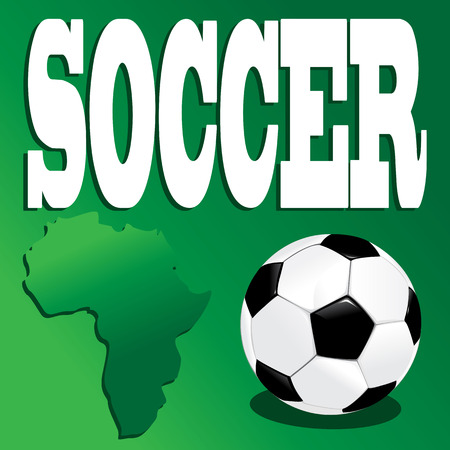 Soccer ball on green background and inscription Vector