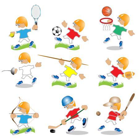 fencing: Tennis, football, basketball, fencing, spear, rugby, onion, hockey, baseball Illustration