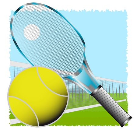 Tennis racket and ball on background net and herbs Vector