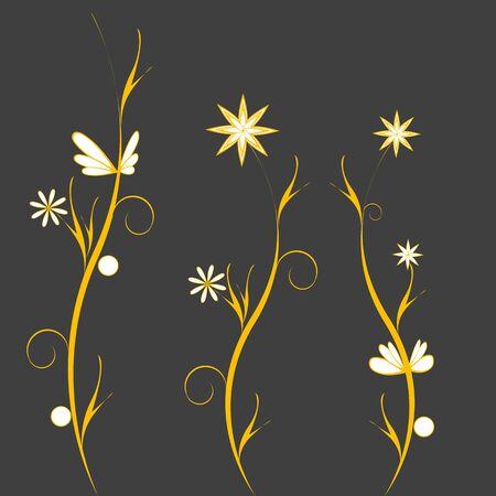 flowerses: Yellow flowerses on gray