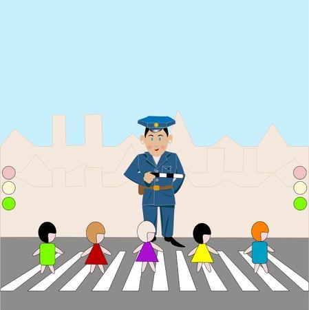 zebra crossing: Cruce de peatones  Vectores