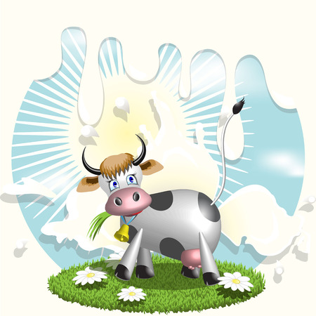 Cow and milk Stock Vector - 7044574