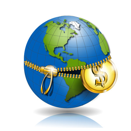 planisphere: Globe with dollar