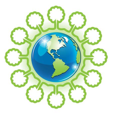 planisphere: Globe and tree Illustration