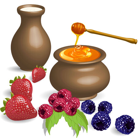 golden pot: Milk and honey Illustration