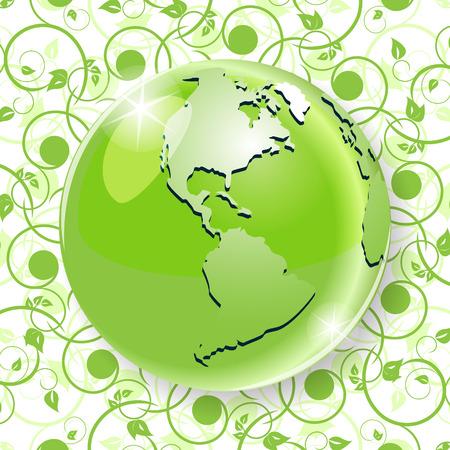 mainland: Globe on green pattern