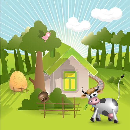 house and cow Vector
