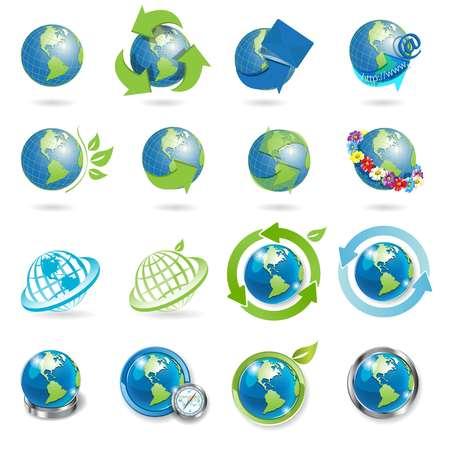planisphere: Icone globo  Vettoriali