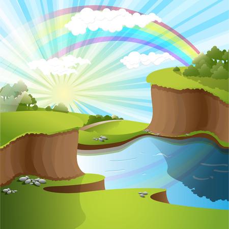 bluff: fiume e arcobaleno Vettoriali