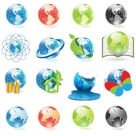 planisphere: icons globe