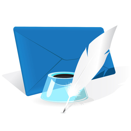 envelope, feather and inkwell Vector