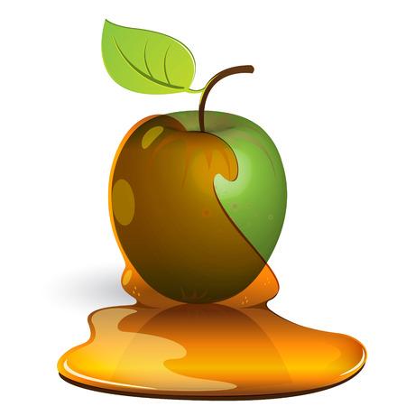caramel: green apple in honey