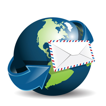air mail: globe and envelope