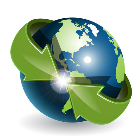 Globe and green arrows Vector