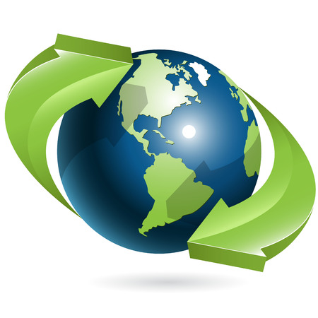 logistics world: globe and green arrows Illustration