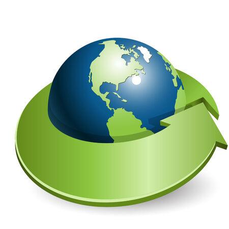 globe and green arrow Illustration