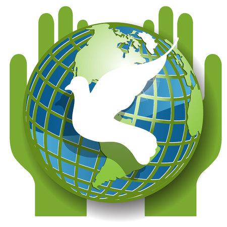 mani terra: Dove e il globo