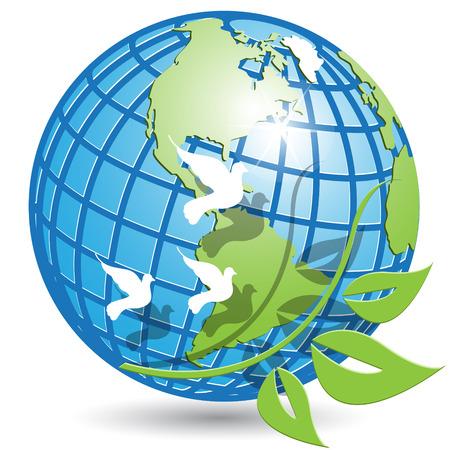 globe and branch Иллюстрация