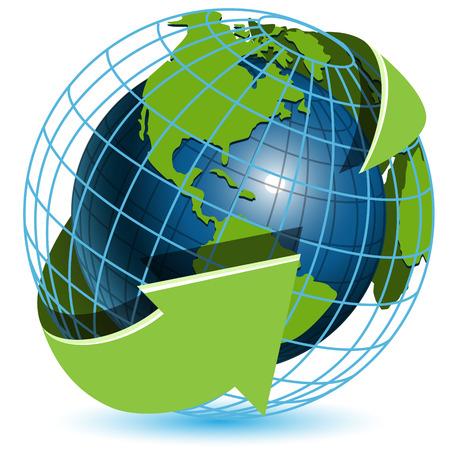 wereldbol groen: Globe en groene pijlen Stock Illustratie