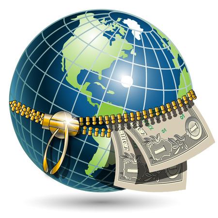 planisphere: Globo con dollaro
