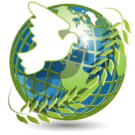 paz mundial: globo y Paloma  Vectores