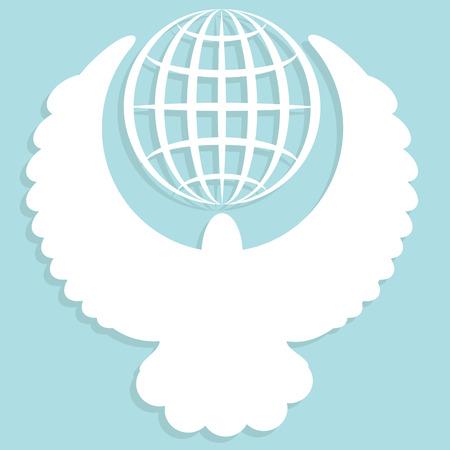 globe and dove Vector