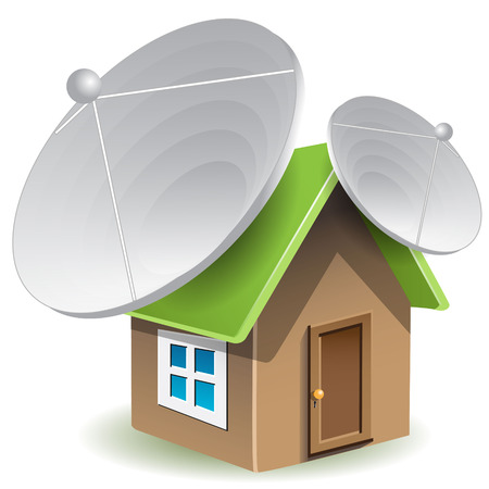house with satellite dishes Illustration