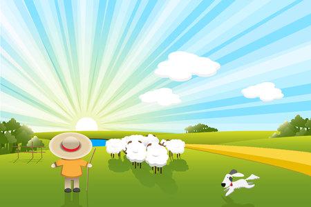 ovejas bebes: ovejas y perro