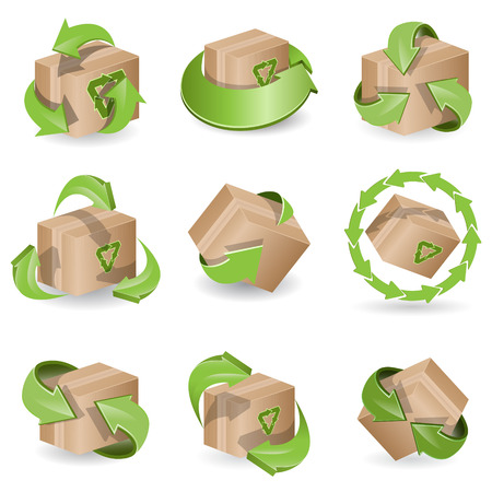brown box: insieme delle frecce icona marrone casella e verde Vettoriali