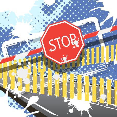 crossbar: red sign of the stop Illustration