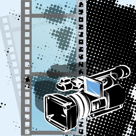 Illustration, video camera drawn by pencil on background of the film