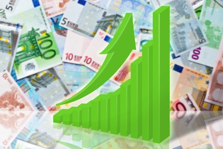 illustration, green graph and arrow on background euro