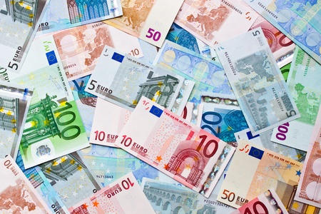 takings: background from bills of the euro miscellaneous value Stock Photo