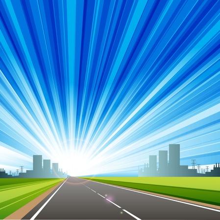 illustration, long road in city under blue sky Stock Vector - 10084205