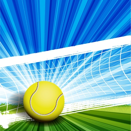 tennis court: illustration, tennis ball on abstract green background