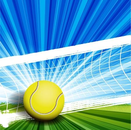 ilustración, pelota de tenis en abstracto fondo verde