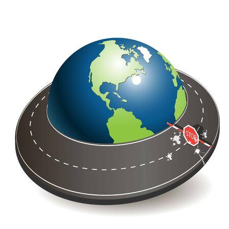 抽象的な図では、世界中の道路のリング  イラスト・ベクター素材