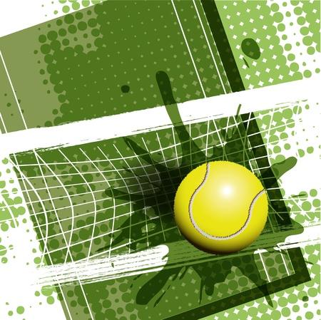 Abbildung, Tennisball auf abstrakte grün hintergrund Vektorgrafik